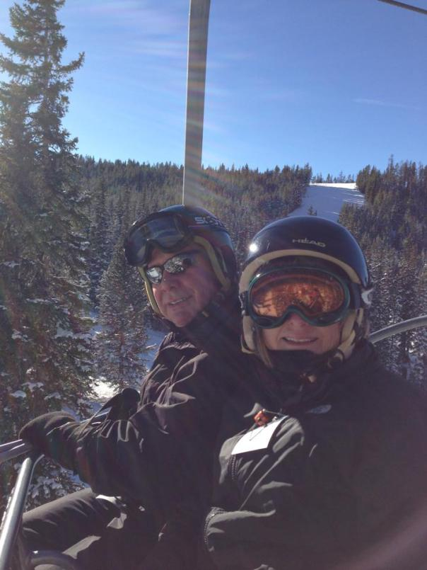 Mom and Dad Skiing